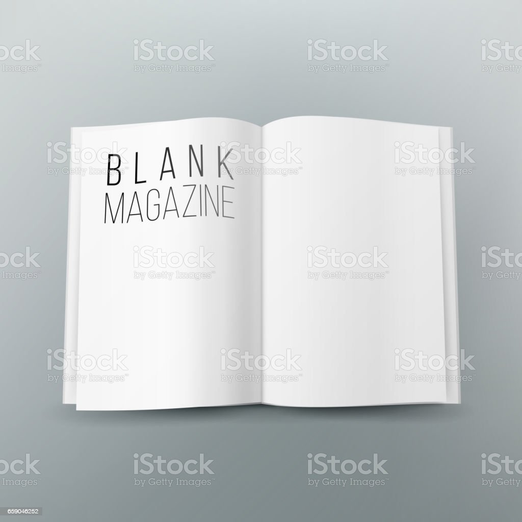 Open Magazine Spread Blank Vector. 3d Realistic Template. Empty Paper Mock Up For Design royalty-free open magazine spread blank vector 3d realistic template empty paper mock up for design stock vector art & more images of belarus