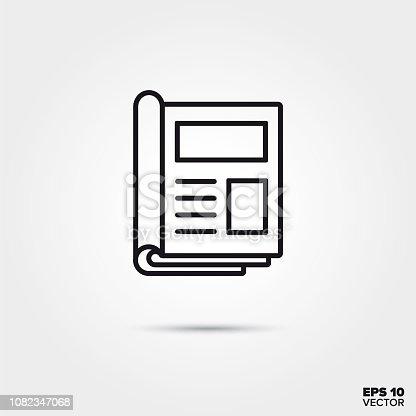 magazine line icon vector illustration. Media and entertainment symbol.