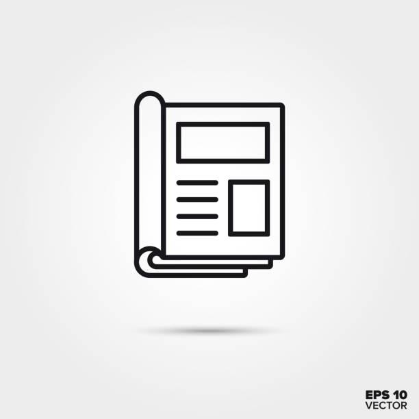 stockillustraties, clipart, cartoons en iconen met open het pictogram van de lijn van tijdschrift vector - magazine