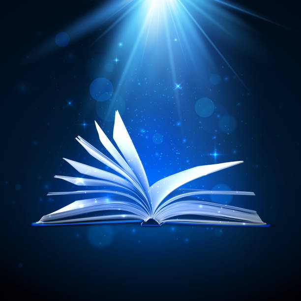 ilustrações de stock, clip art, desenhos animados e ícones de open magic book on blue background. fantasy light and sparkles. vector illustration - milagre evento religioso