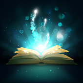 Magic book with light sparkles and shine. Vector fairy tale book with open pages, magic shiny stars light and sparkling fireworks on mystic bokeh rays background