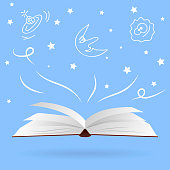 Open magic book with fantasies and dreams. Vector