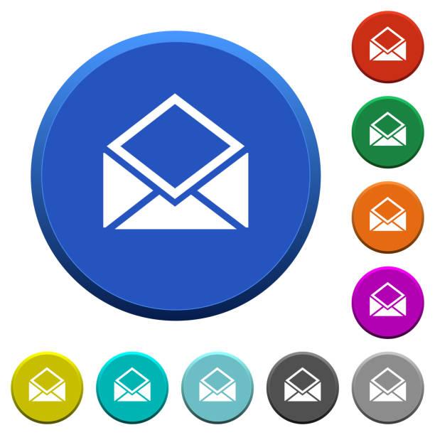 Geöffnete E-Mail-abgeschrägte Schaltflächen – Vektorgrafik