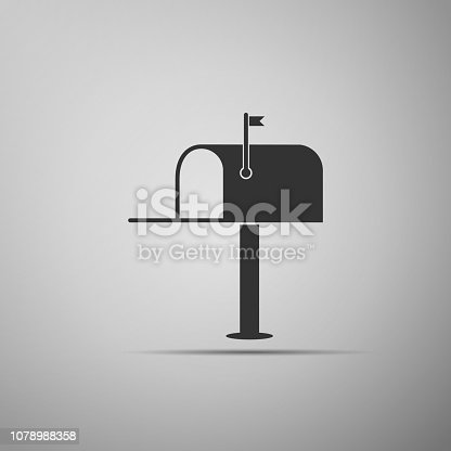 Open mail box icon isolated on grey background. Mailbox icon. Mail postbox on pole with flag. Flat design. Vector Illustration
