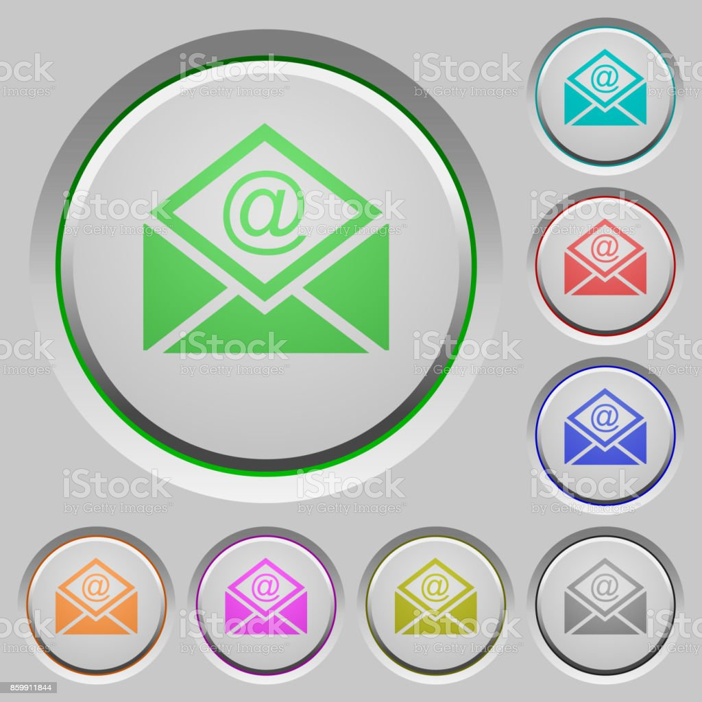 Open mail with email symbol push buttons vector art illustration