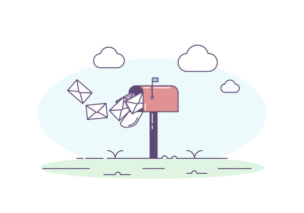 Open mailbox allowing mail envelop letters inside. Vector trendy illustration with mailbox, correspondence, sky and clouds vector eps10 letterbox format stock illustrations