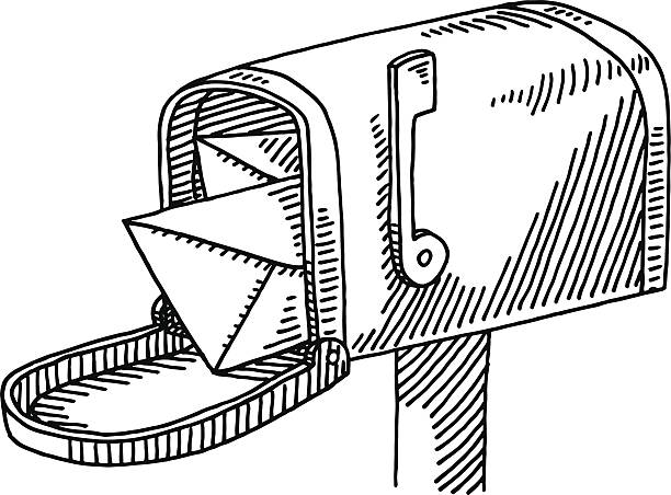 Offene Briefkasten Buchstabe Zeichnung – Vektorgrafik