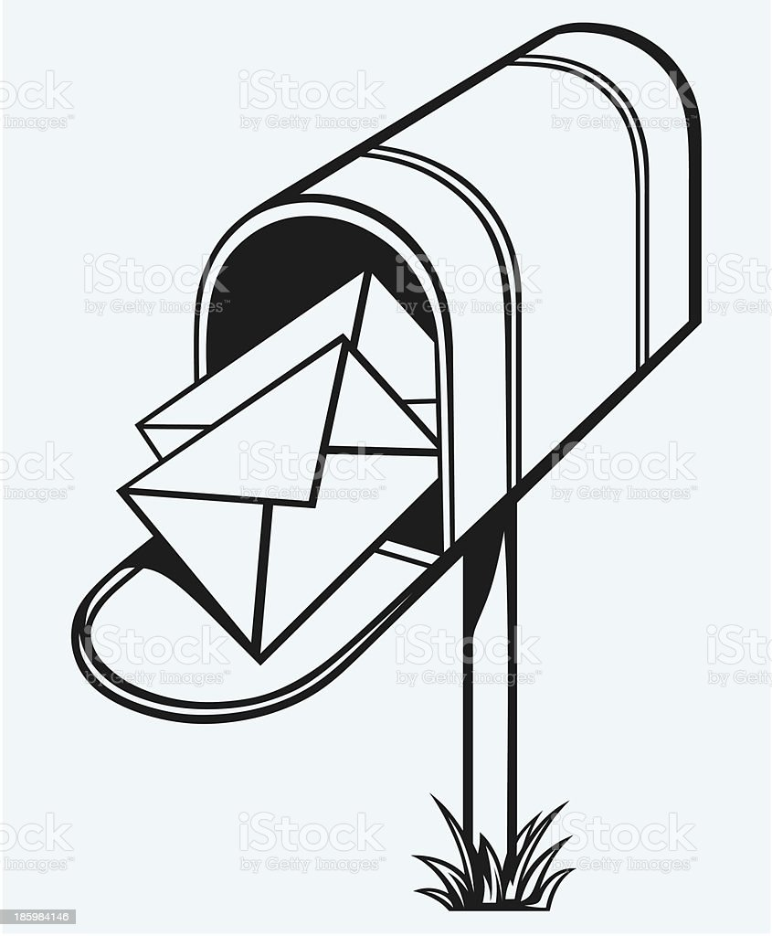 Open Mailbox with letters royalty-free stock vector art