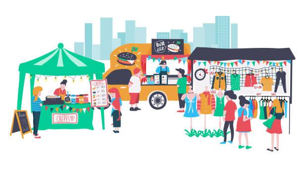 illustrazioni stock, clip art, cartoni animati e icone di tendenza di mercato aperto - bancarella
