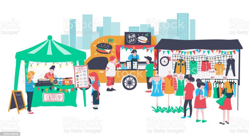 Marché ouvert - Illustration vectorielle
