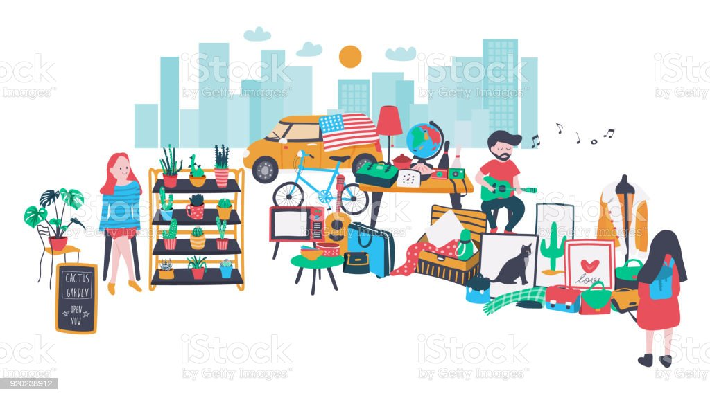 Mercado aberto - ilustração de arte em vetor
