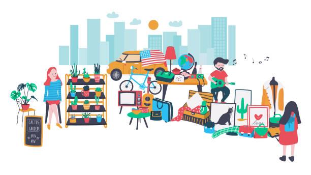 stockillustraties, clipart, cartoons en iconen met open markt - bazaar