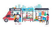 Walking street consisting of barbecue food truck, som tum or papaya salad stall, and clothes and accessories shop, all is colorful doodle cartoon flat design, illustration, vector, isolated on white background