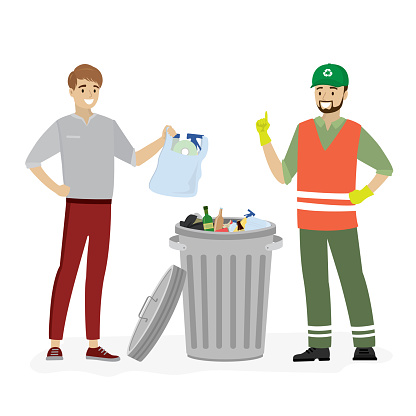 Open metal trash can with garbage.Young man throws a bag with garbage and happy garbage collector.