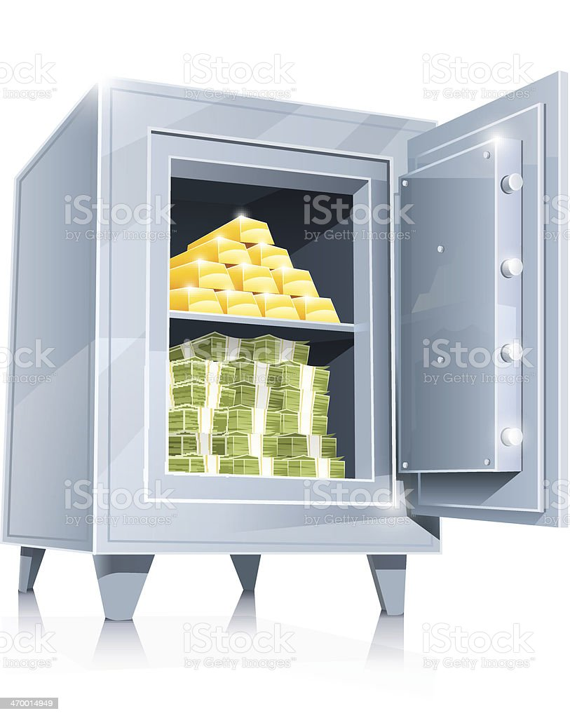 open metallic safe with gold and money royalty-free stock vector art