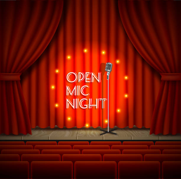open mic night live show vector background - comedian stock illustrations