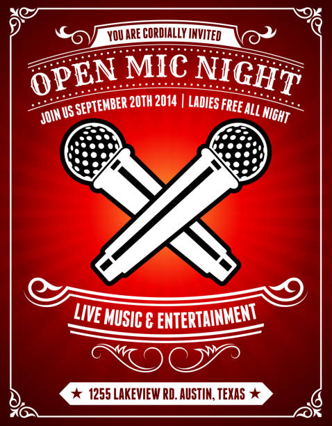 open mic night on red poster background - comedian stock illustrations
