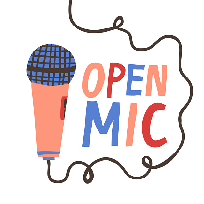 Open Mic sign and microphone isolated on white background.
