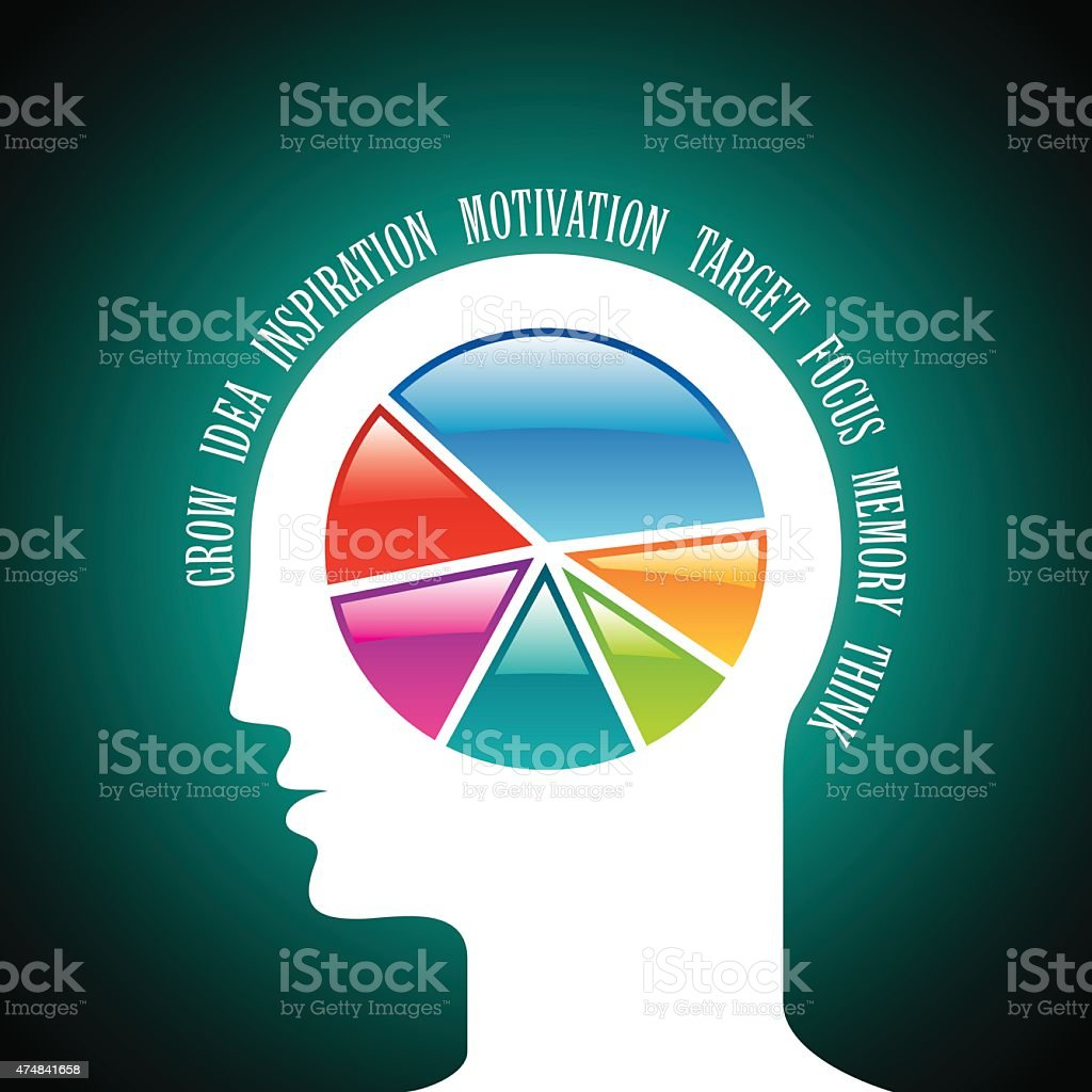 Open Minded Man With Colorful Pie Chart Graph Inside Stock Vector ...
