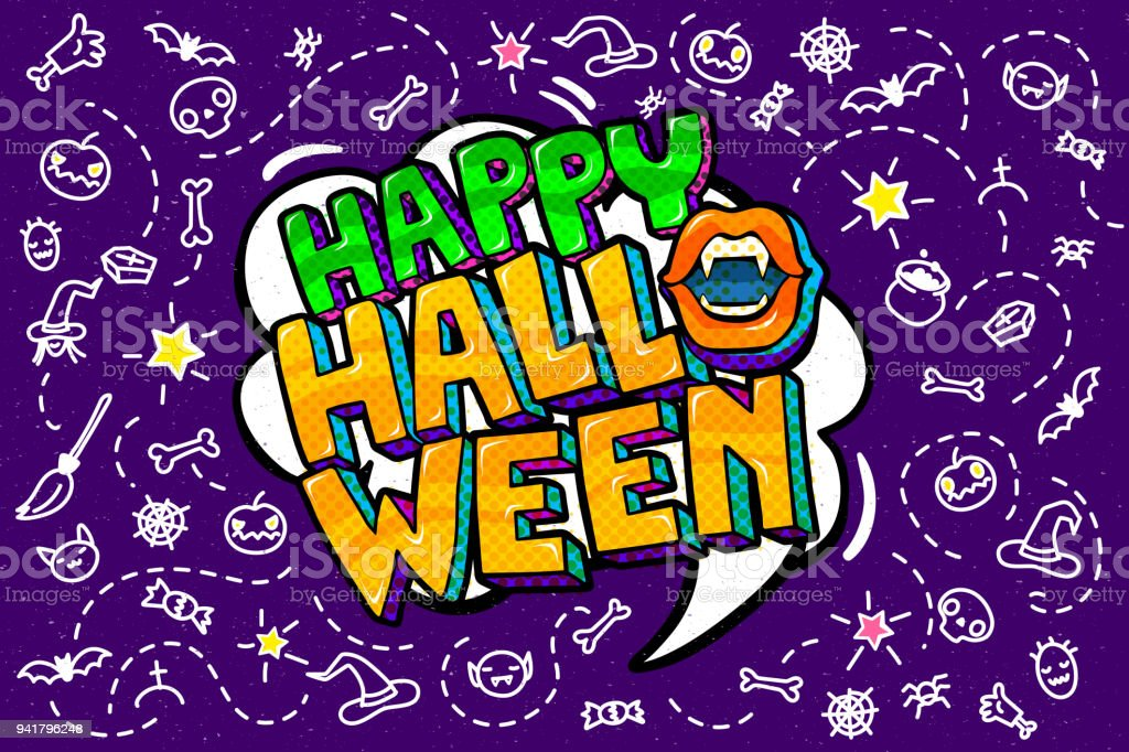 e063365cad7 Open Mouth And Happy Halloween Message Stock Vector Art & More ...