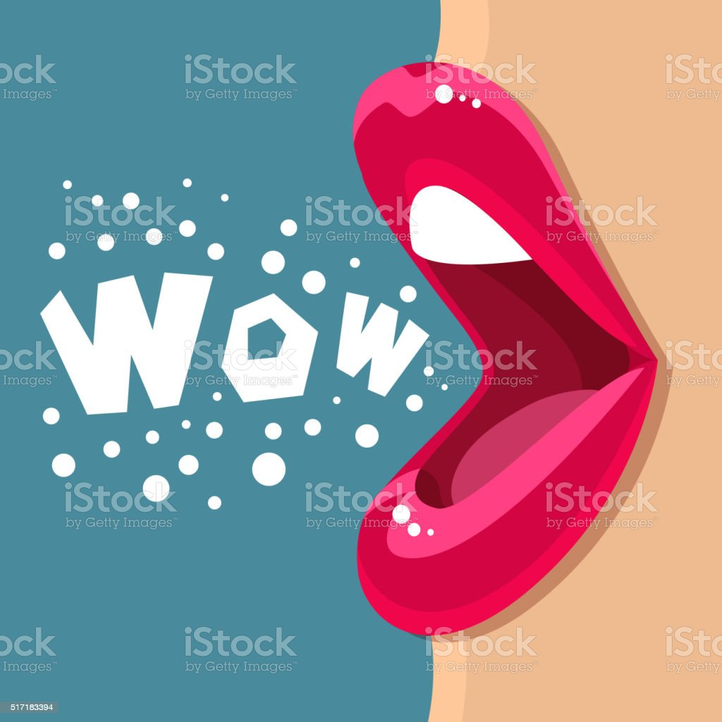 Open mouth and WOW Message vector art illustration