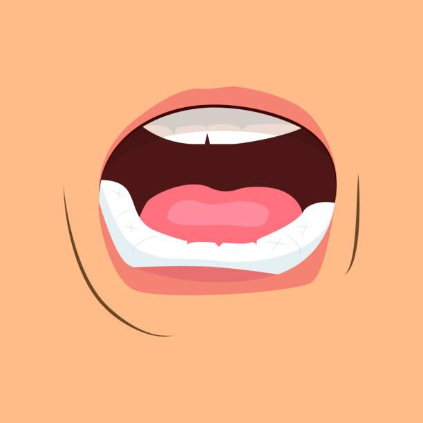 illustrazioni stock, clip art, cartoni animati e icone di tendenza di open mouth of crying person - lingua umana