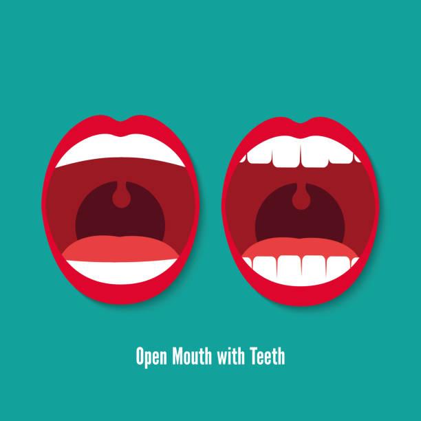 illustrazioni stock, clip art, cartoni animati e icone di tendenza di open mouth with teeth vector flat icon illustration - lingua umana
