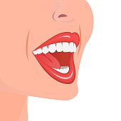 Open mouth with white teeth. Snow-white smile. Upper and lower jaw. The image for stomatology with healthy and smooth teeth. Flat isolated vector illustration on a white background.