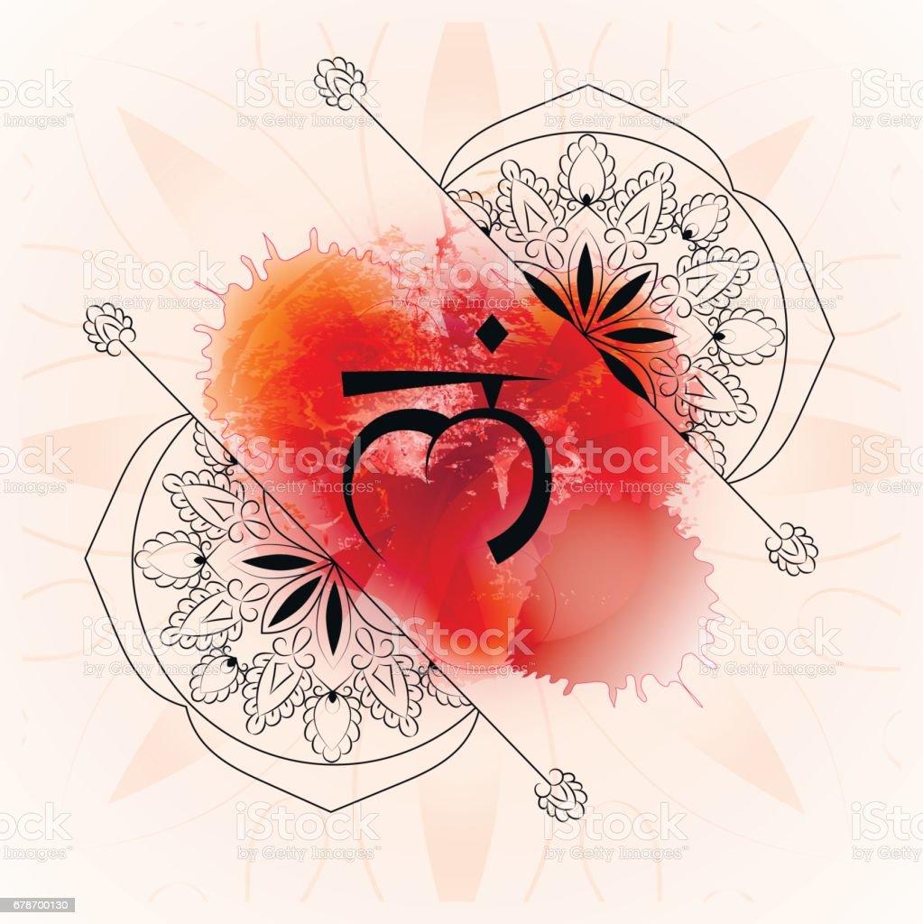 Muladhara Chakra auf rotem Grund Aquarell zu öffnen – Vektorgrafik
