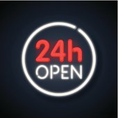 Open 24 hours neon sign. EPS 10 file format contains blending and transparency. Fully editable in Adobe Illustrator 10> versions.