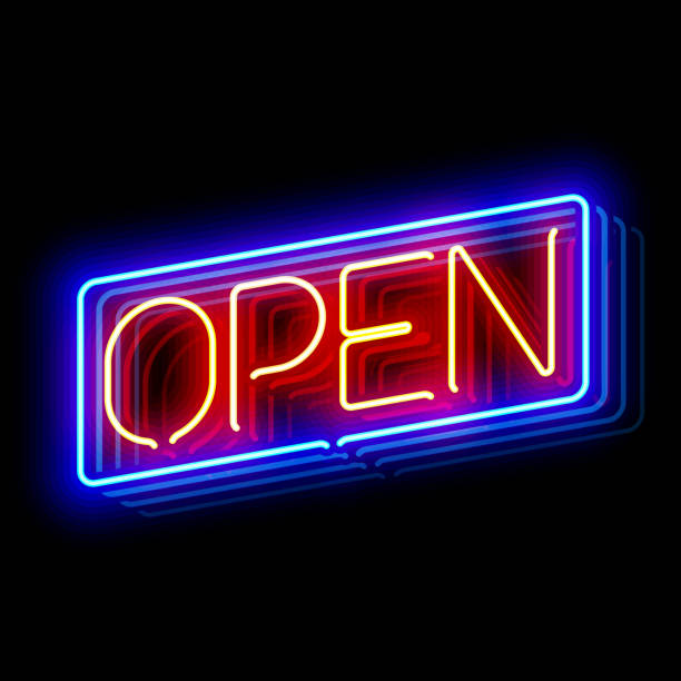Open neon sign Open neon sign with reflection. Vector illustration with transparent effect, eps10. open sign stock illustrations