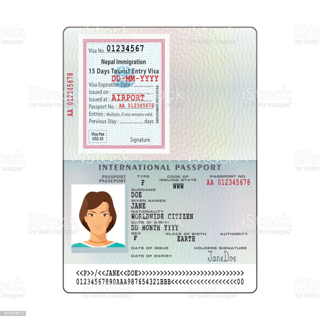Nepalreisepassvisumstickervorlage Im Flachen Stil Zu öffnen Stock ...