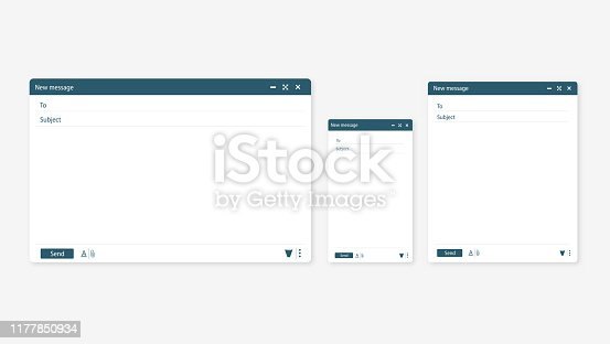 Open new email window in a flat style. Design a simple blank web page. Template Send new email window on your PC, tablet and mobile phone.
