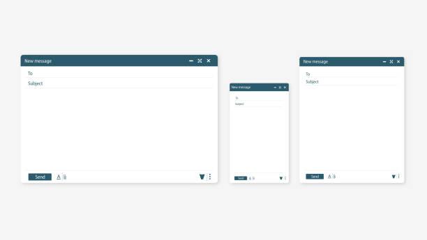 フラットなスタイルで新しい電子メール ウィンドウを開きます。単純な空白の web ページをデザインします。テンプレート pc、タブレット、携帯電話に新しいメールウィンドウを送信する - メール点のイラスト素材/クリップアート素材/マンガ素材/アイコン素材