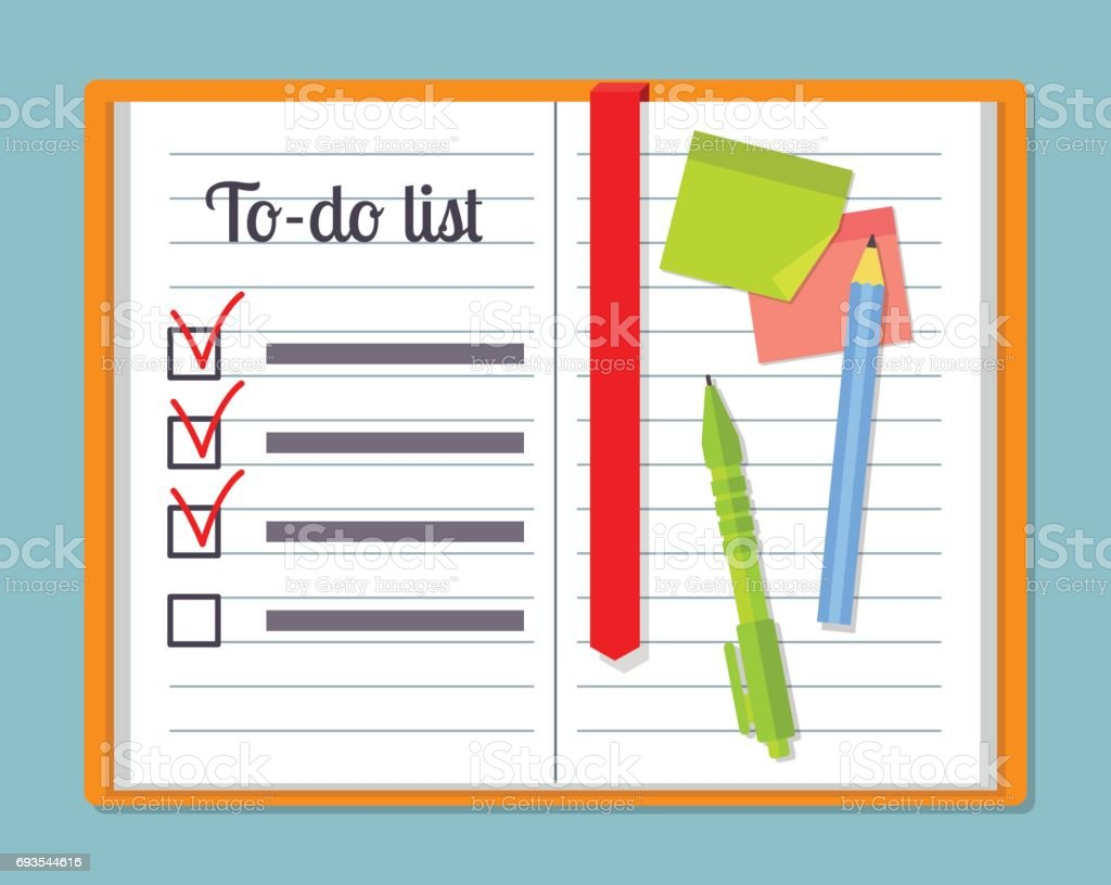 Open notebook with to-do list template,pencil, pen and sticky notes or post it notes. EPS10 vector illustration in flat style. vector art illustration
