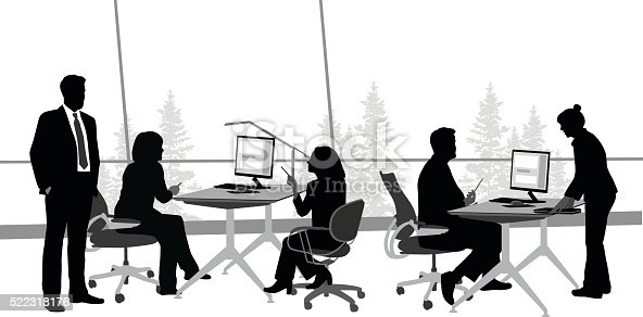 A vector silhouette illustration of business men and women working in an office.  A woman stands at the desk of a male coworker with documents.  Two women sit angrily across from eachother at another desk while a man in a suit stands near.  The office is open concept with a large window in the background viewing trees.This file is to be used for batch editing. It can contain active and deleted keywords. Pasting this file data will update and delete keywords accordingly.