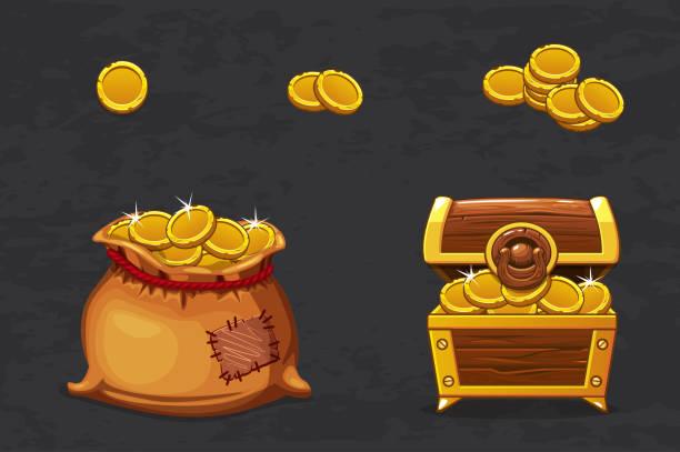 offene alte tasche und holzkiste. alten piraten geld für gewinner. vektor-cartoon-illustration münzen icons für web, spiele - piratenschrift stock-grafiken, -clipart, -cartoons und -symbole