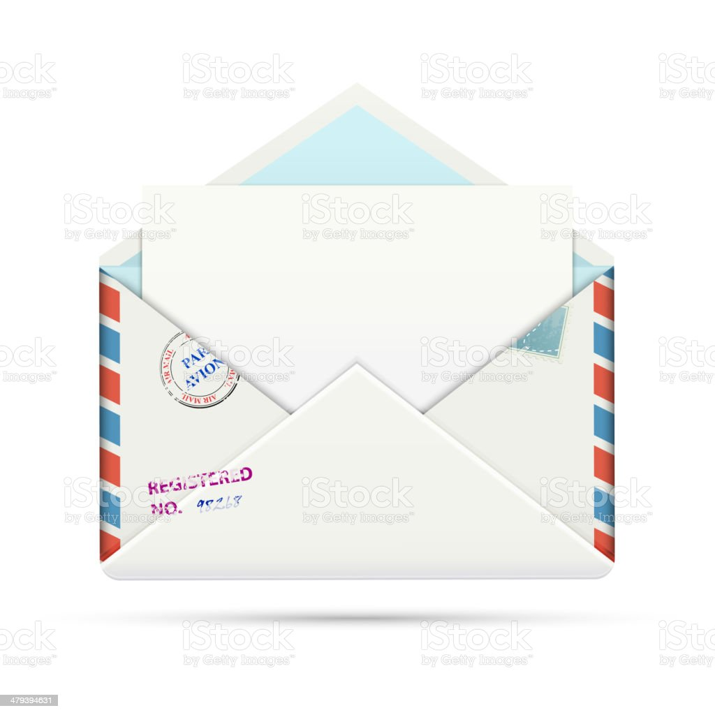 Open Old-fashioned Airmail Paper Envelope royalty-free open oldfashioned airmail paper envelope stock vector art & more images of air mail