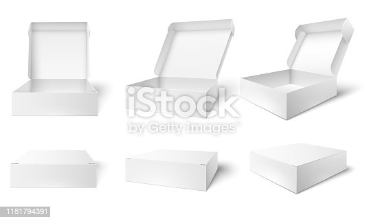 Open packaging box. Blank package boxes, opened and closed white packages mockup. Chocolate gift packaging wrap, product cardboard box. 3d realistic vector illustration isolated icons set