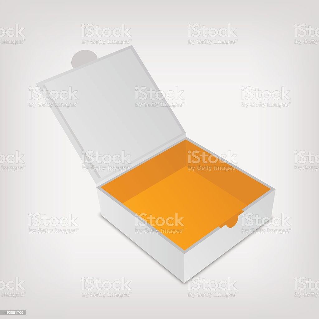 Open packaging box mockup. Gray square and orange inside vector art illustration