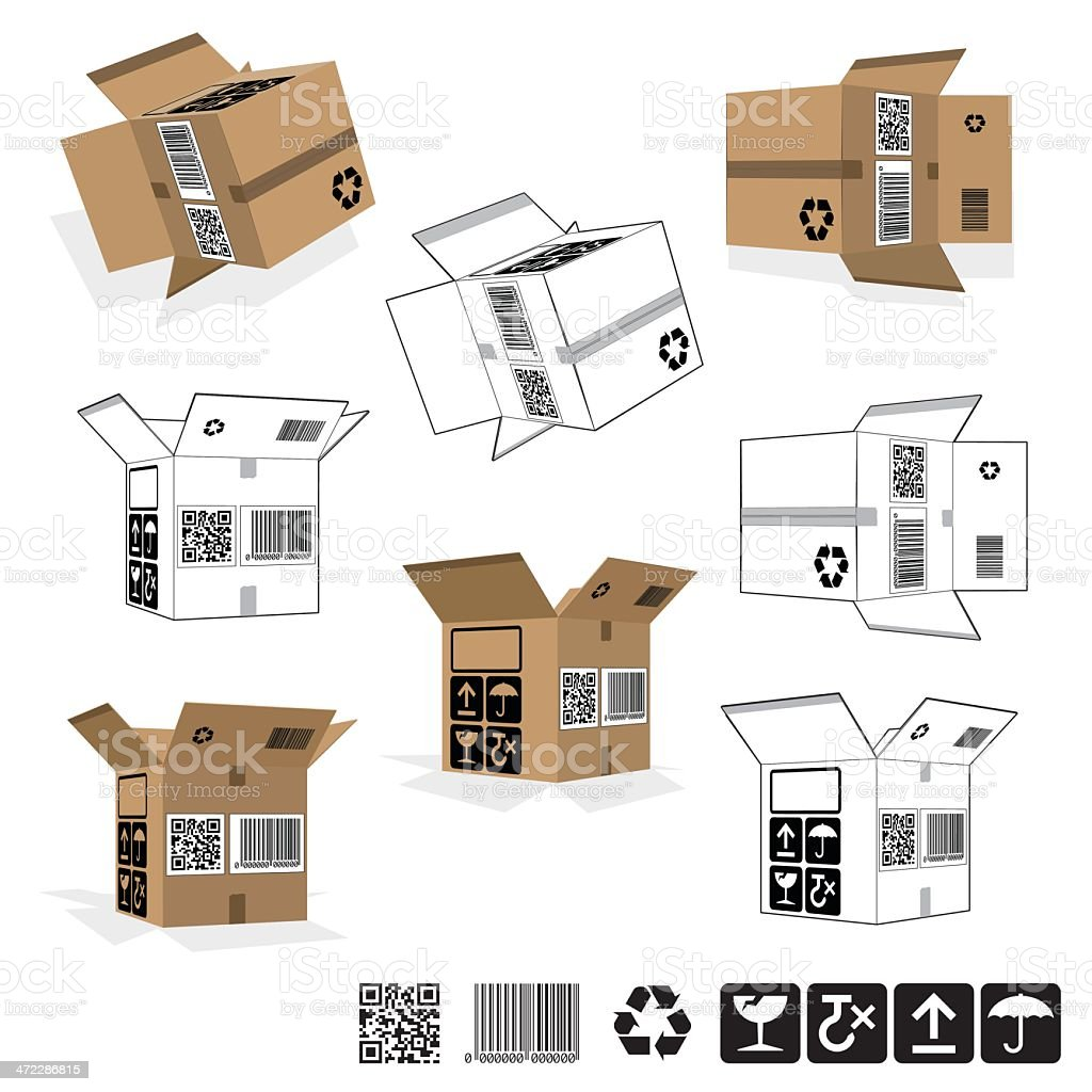 Open Packaging Boxes - Rotated set royalty-free stock vector art
