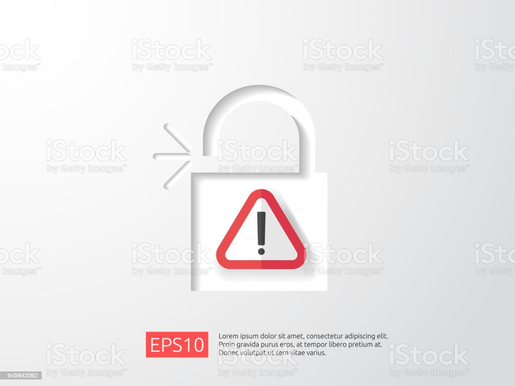 Open Padlock Attention Icon With Exclamation Mark Symbol Warning