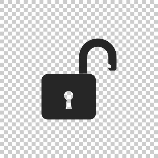 Open padlock icon isolated on transparent background. Lock symbol. Flat design. Vector Illustration Open padlock icon isolated on transparent background. Lock symbol. Flat design. Vector Illustration unlocking stock illustrations