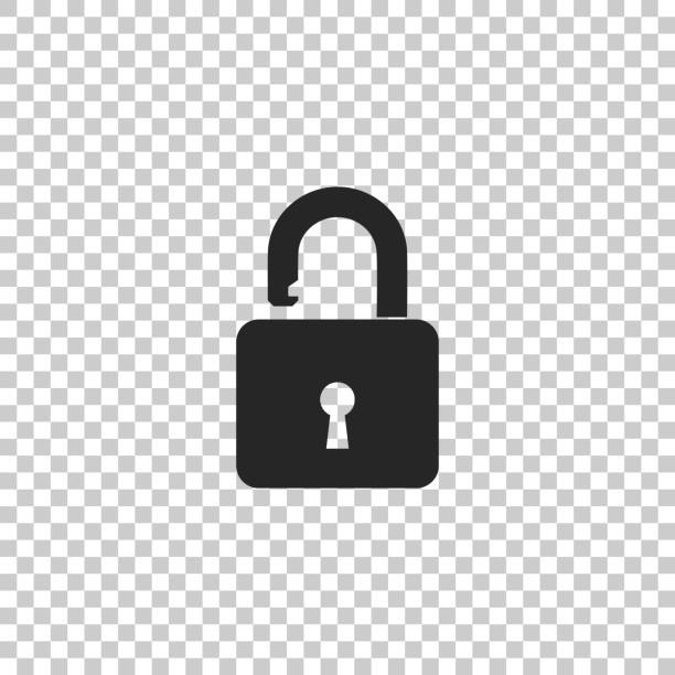Open padlock icon isolated on white background. Lock symbol. Set elements in colored icons. Flat design. Vector Illustration Open padlock icon isolated on white background. Lock symbol. Set elements in colored icons. Flat design. Vector Illustration locking stock illustrations