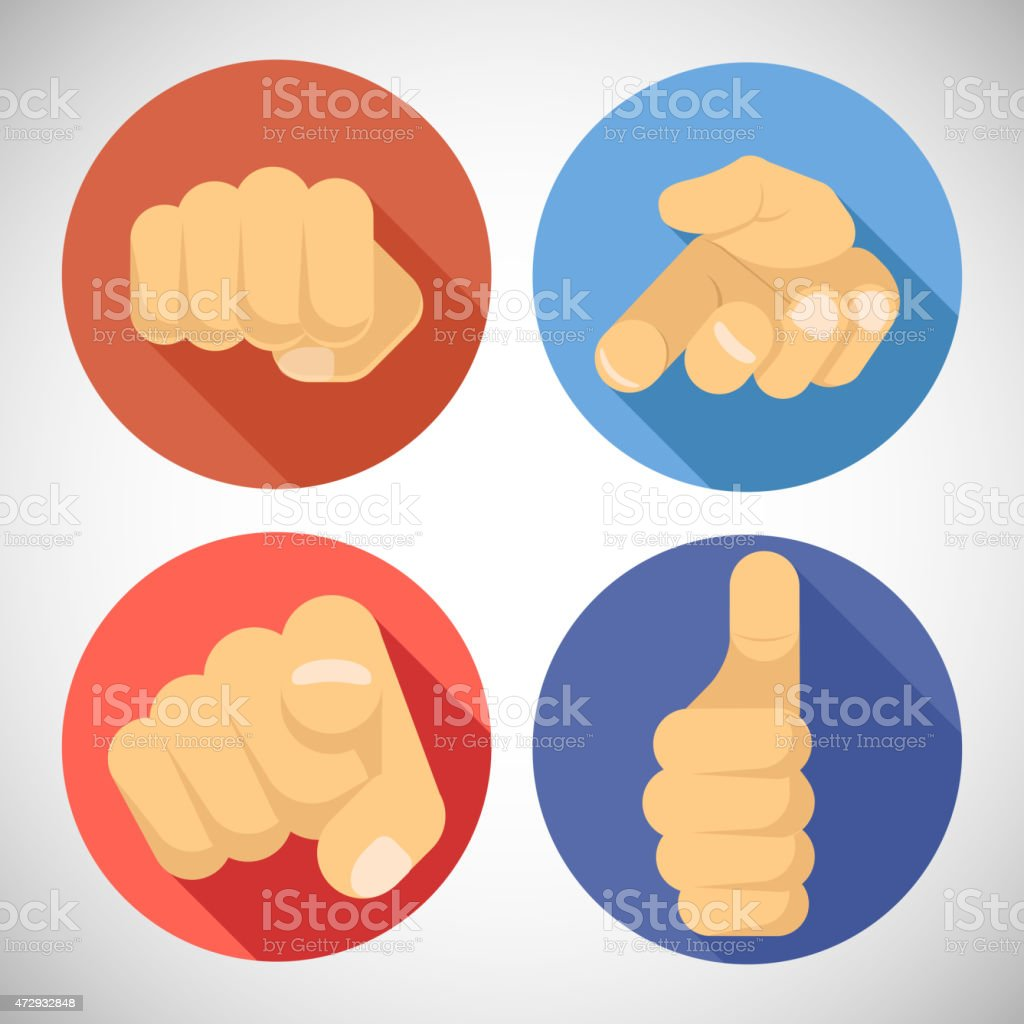 Open Palm Pleading Giving Pointing Finger Tumbs up Like Punchinf vector art illustration
