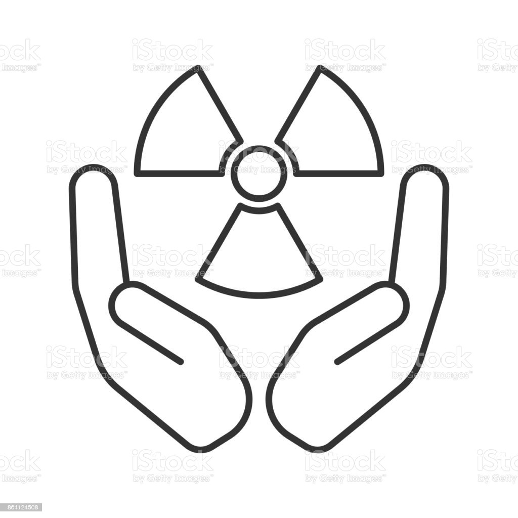 Open palms with atomic power symbol linear icon royalty-free open palms with atomic power symbol linear icon stock vector art & more images of atom