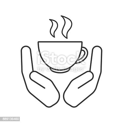 Open palms with hot drink cup linear vector icon. Thin line. Coffee house