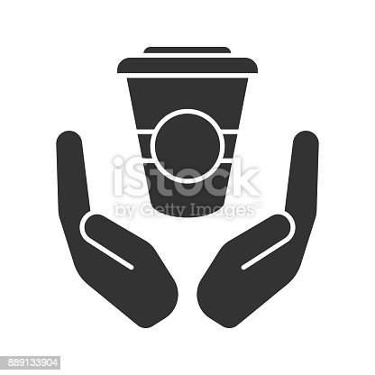 Open palms with paper cup glyph icon. Vector silhouette