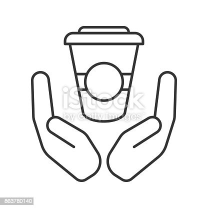 Open palms with paper cup linear vector icons. Thin line. Free coffee