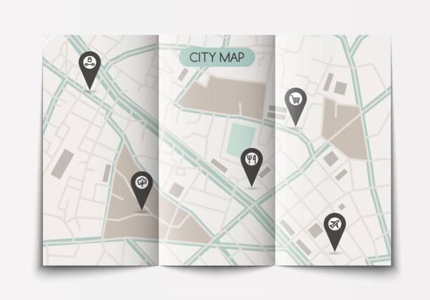 ilustraciones, imágenes clip art, dibujos animados e iconos de stock de libro abierto de mapa de la ciudad - señalización vial